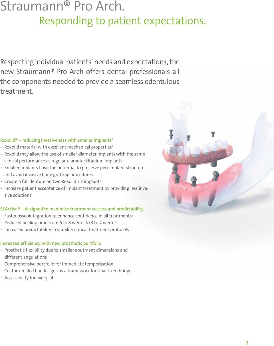 Roxolid reducing invasiveness with smaller implants 4 Roxolid material with excellent mechanical properties 2 Roxolid may allow the use of smaller-diameter implants with the same clinical performance