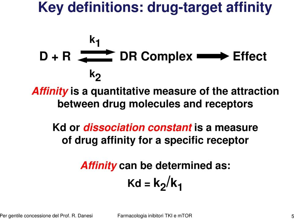 Kd or dissociation constant is a measure of drug affinity for a specific