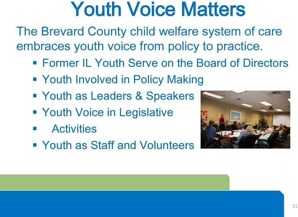 Former IL Youth Serve on the Board of Directors Youth Involved in Policy