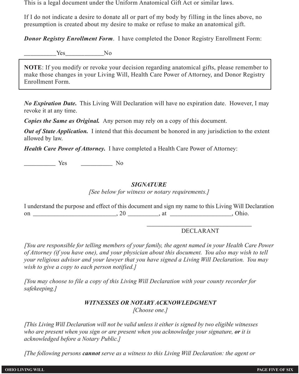 Donor Registry Enrollment Form.