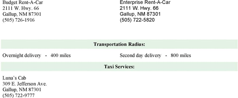66 (505) 722-5820 Transportation Radius: Overnight delivery -
