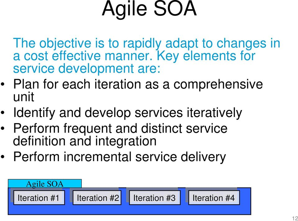 and develop services iteratively Perform frequent and distinct service definition and integration