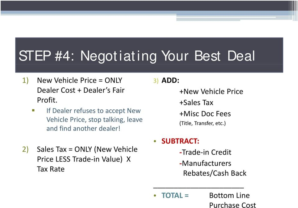 2) Sales Tax = ONLY (New Vehicle Price LESS Trade in Value) X Tax Rate 3) ADD: +New Vehicle Price +Sales