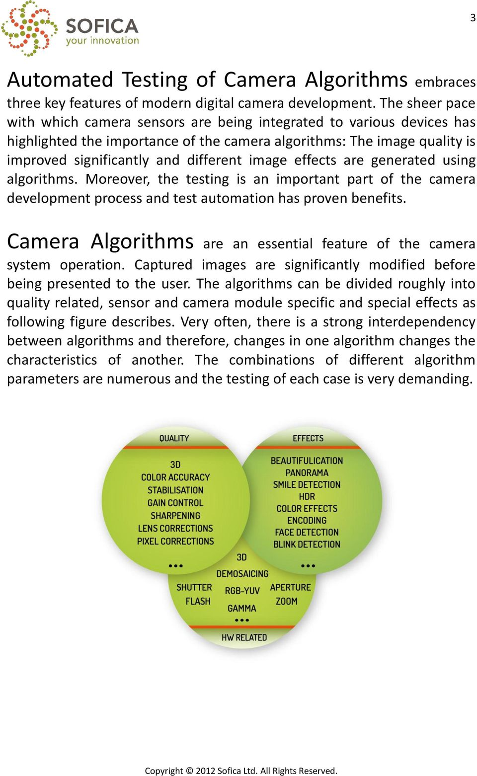 image effects are generated using algorithms. Moreover, the testing is an important part of the camera development process and test automation has proven benefits.