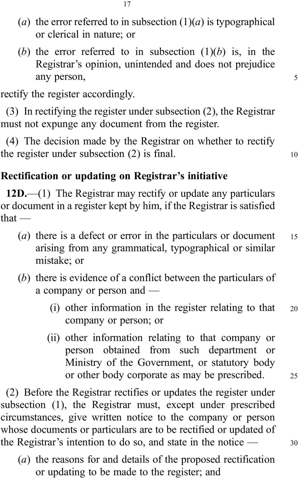 (4) The decision made by the Registrar on whether to rectify the register under subsection (2) is final. Rectification or updating on Registrar s initiative 12D.