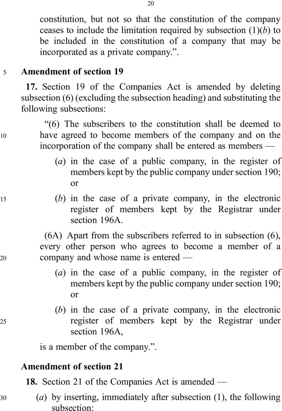 Section 19 of the Companies Act is amended by deleting subsection (6) (excluding the subsection heading) and substituting the following subsections: (6) The subscribers to the constitution shall be