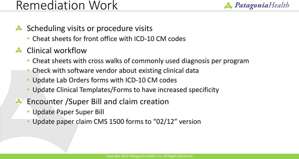 existing clinical data Update Lab Orders forms with ICD-10 CM codes Update Clinical Templates/Forms to have increased
