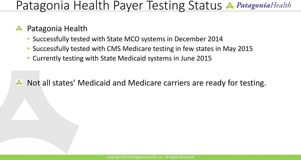 testing in few states in May 2015 Currently testing with State Medicaid