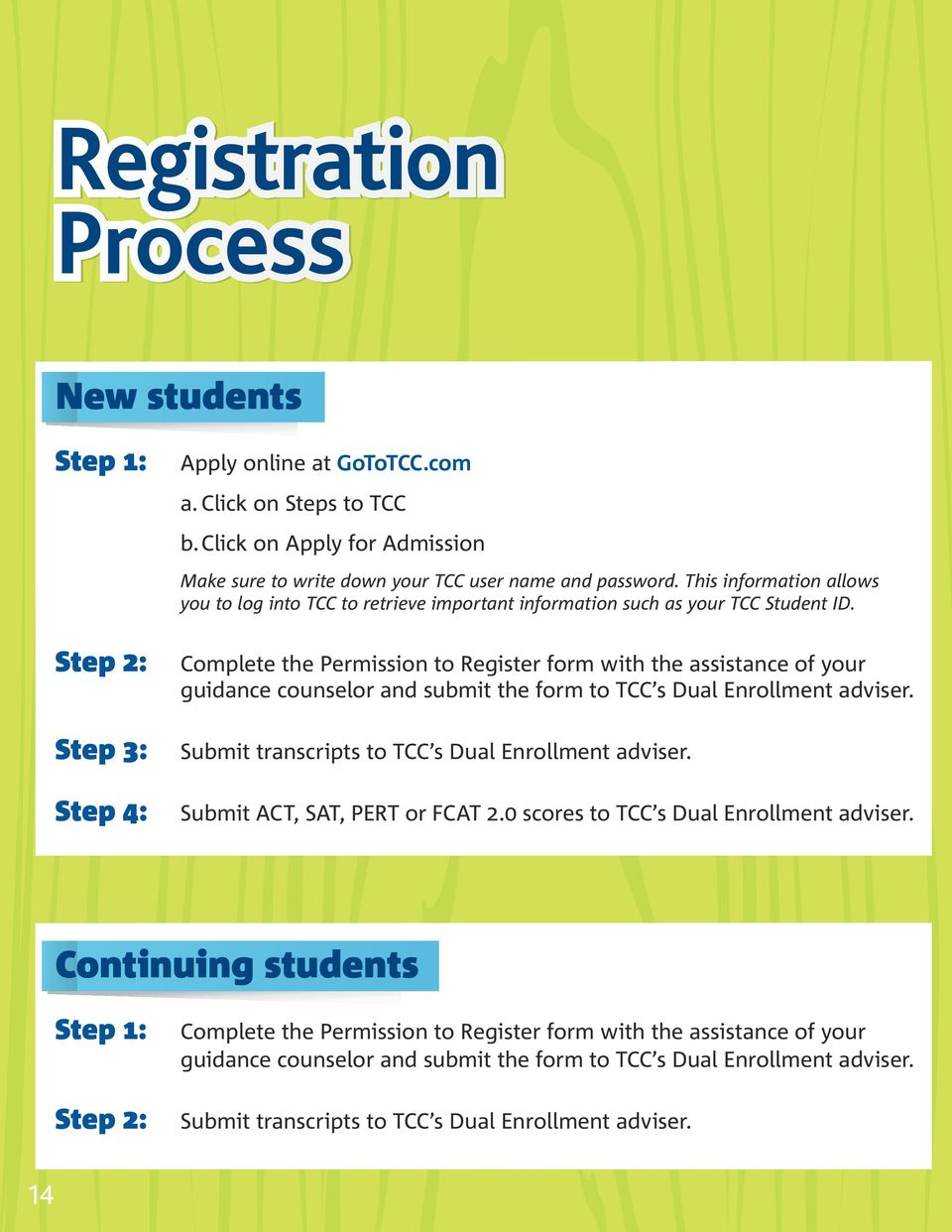 Complete the Permission to Register form with the assistance of your guidance counselor and submit the form to TCC s Dual Enrollment adviser. Submit transcripts to TCC s Dual Enrollment adviser.