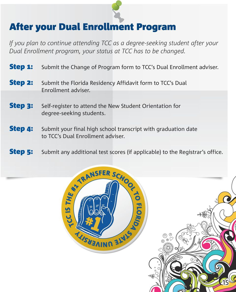 Step 1: Step 2: Step 3: Step 4: Step 5: Submit the Change of Program form to TCC s Dual Enrollment adviser.