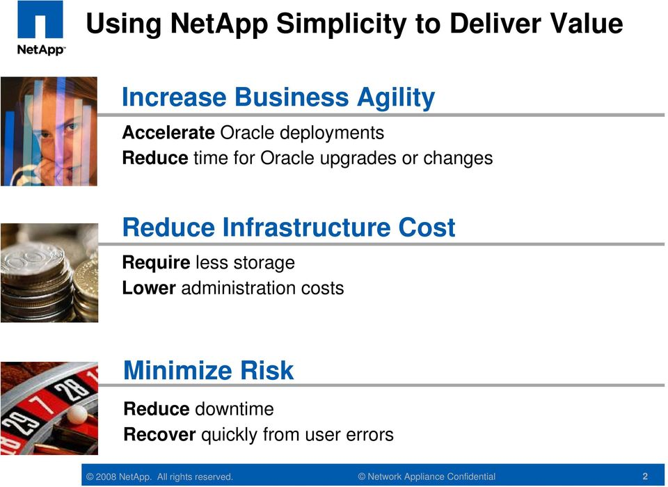 changes Reduce Infrastructure Cost Require less storage Lower