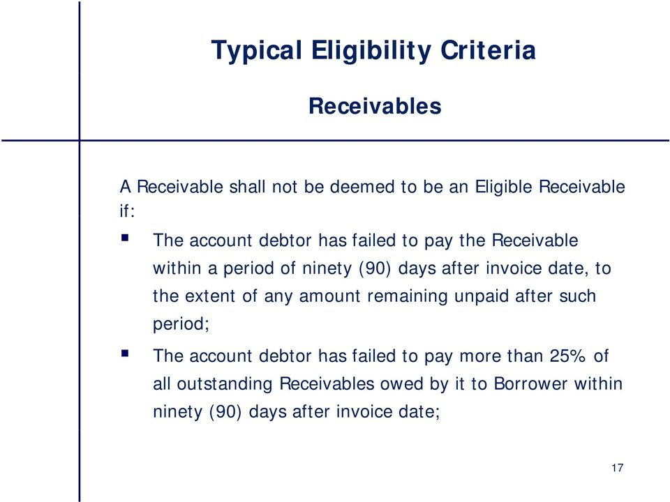 to the extent of any amount remaining unpaid after such period; The account debtor has failed to pay more