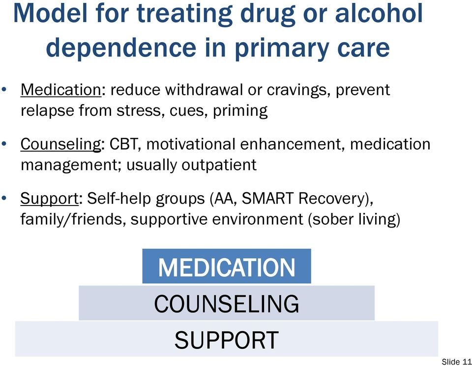 enhancement, medication management; usually outpatient Support: Self-help groups (AA, SMART
