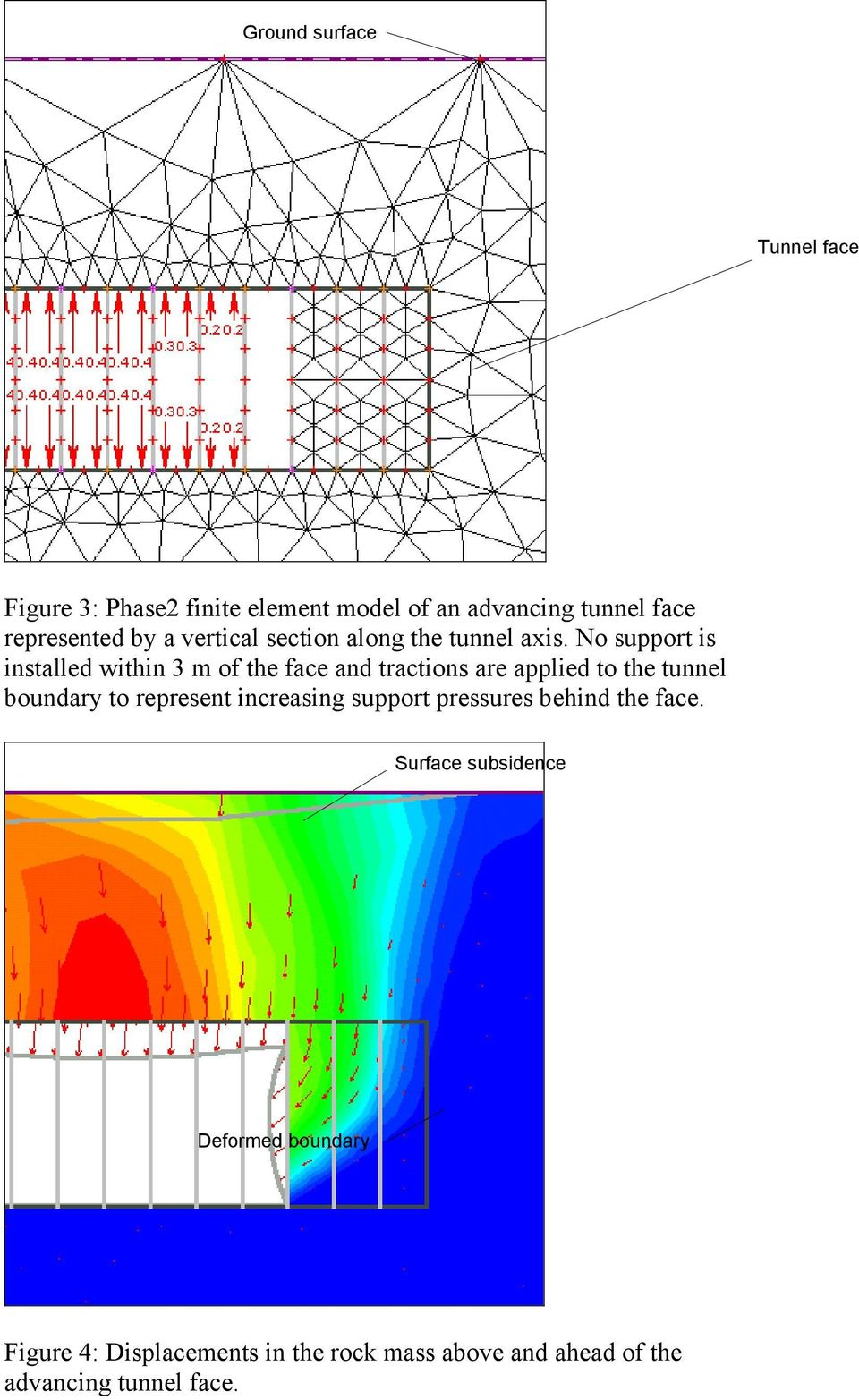No support is installed within 3 m of the face and tractions are applied to the tunnel boundary to
