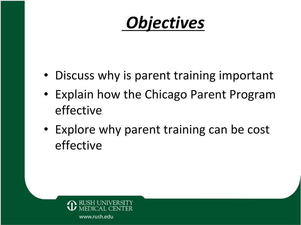 Chicago Parent Program effective