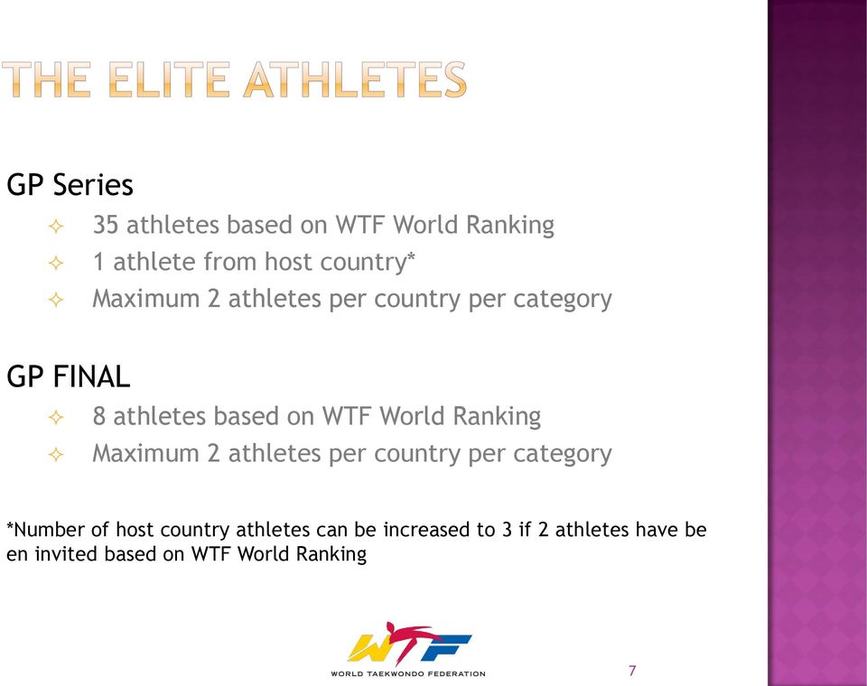 Ranking Maximum 2 athletes per country per category *Number of host country