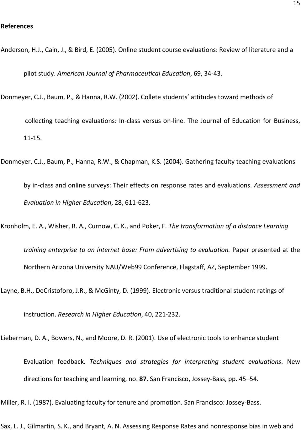 Donmeyer, C.J., Baum, P., Hanna, R.W., & Chapman, K.S. (2004). Gathering faculty teaching evaluations by in-class and online surveys: Their effects on response rates and evaluations.