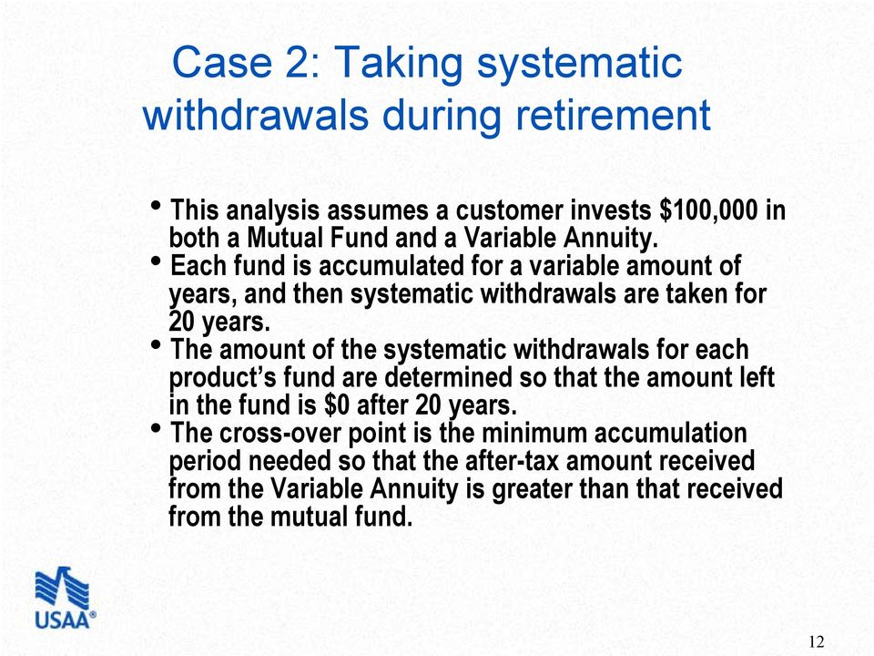 hthe amount of the systematic withdrawals for each product s fund are determined so that the amount left in the fund is $0 after 20 years.