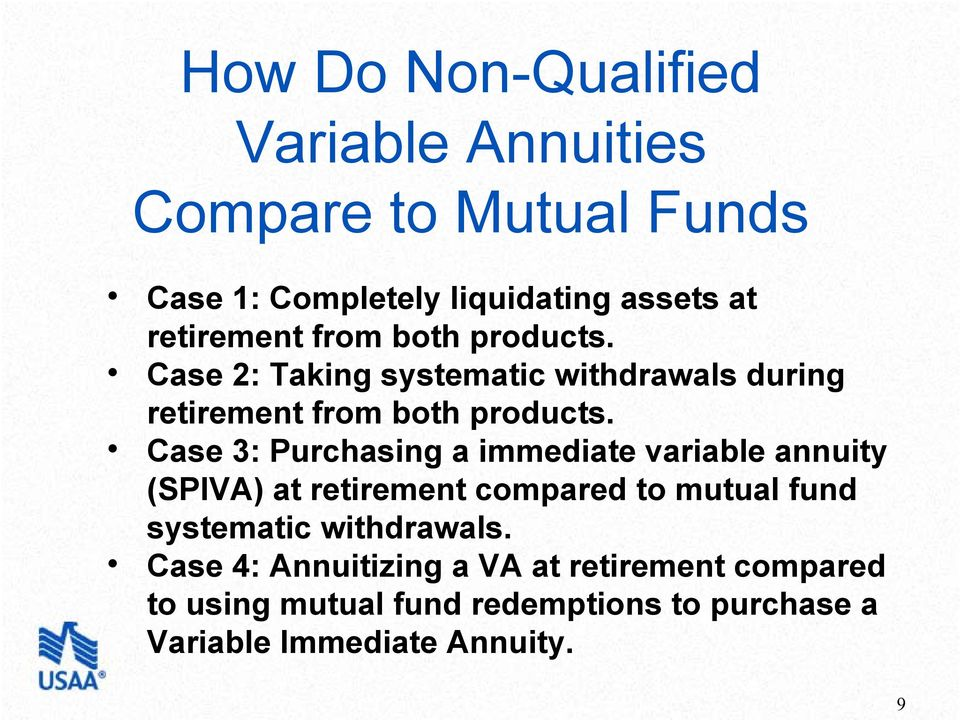 Case 3: Purchasing a immediate variable annuity (SPIVA) at retirement compared to mutual fund systematic