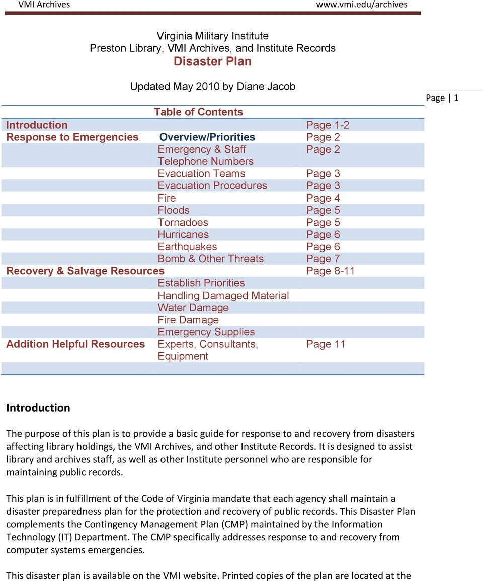 Page 6 Bomb & Other Threats Page 7 Recovery & Salvage Resources Page 8-11 Establish Priorities Handling Damaged Material Water Damage Fire Damage Emergency Supplies Addition Helpful Resources