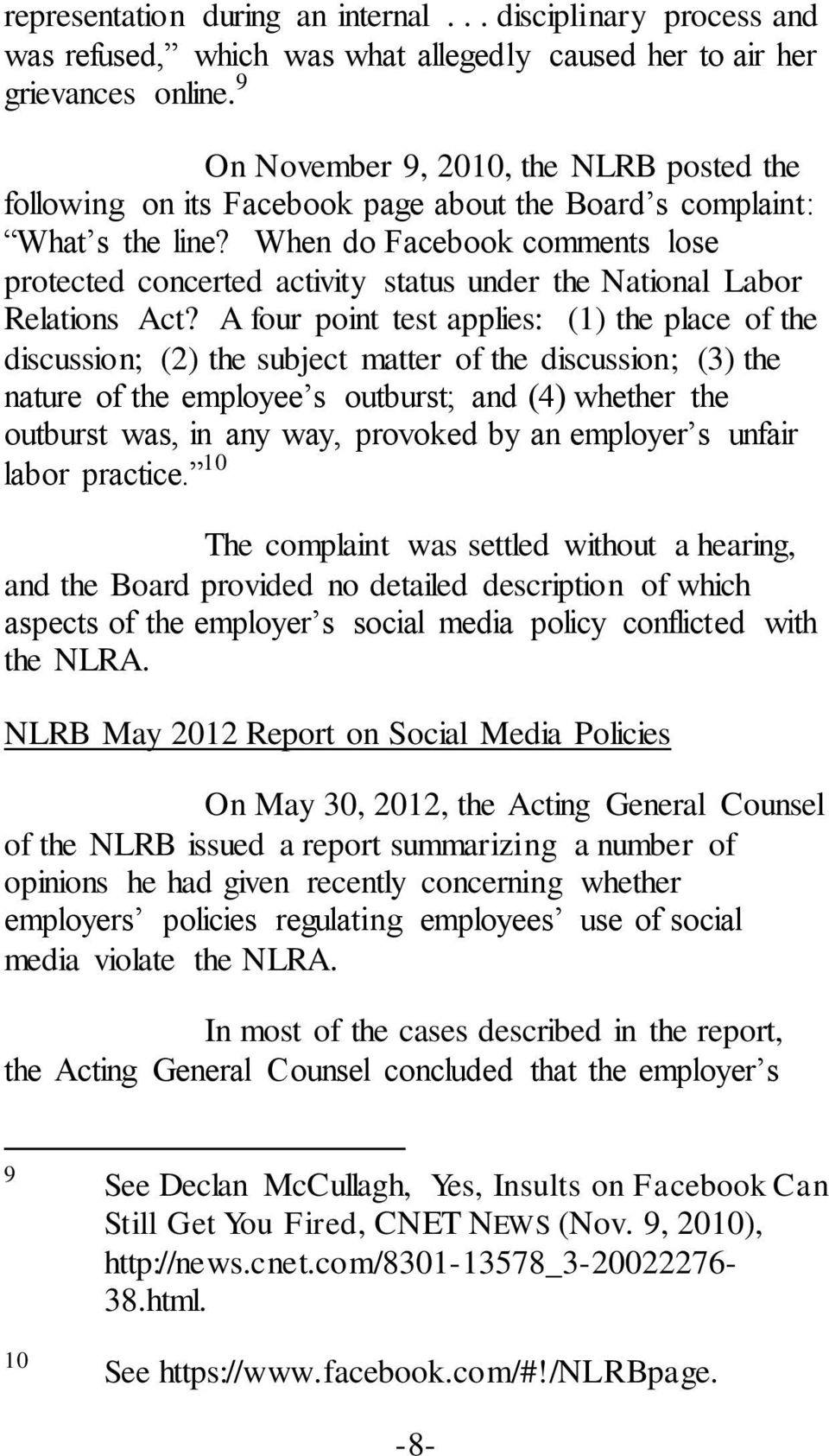 When do Facebook comments lose protected concerted activity status under the National Labor Relations Act?