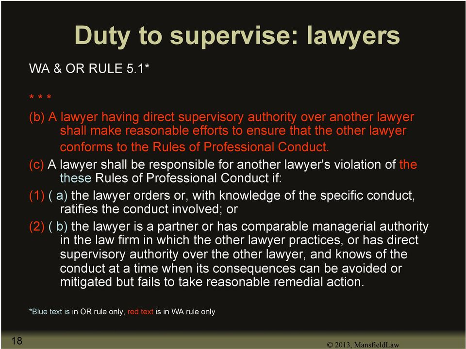 (c) A lawyer shall be responsible for another lawyer's violation of the these Rules of Professional Conduct if: (1) ( a) the lawyer orders or, with knowledge of the specific conduct, ratifies the
