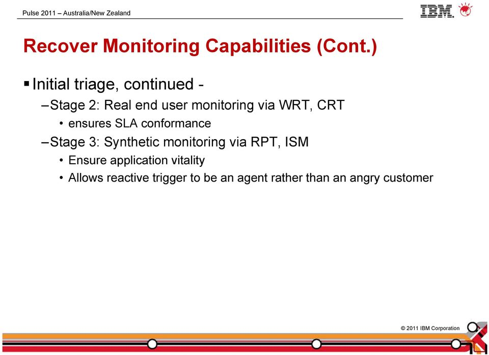 WRT, CRT ensures SLA conformance Stage 3: Synthetic monitoring via