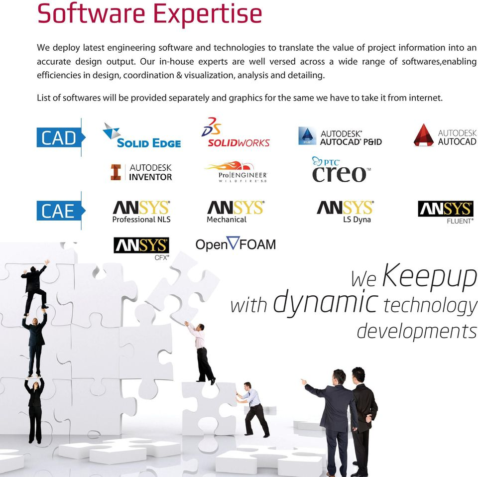 Our in-house experts are well versed across a wide range of softwares,enabling efficiencies in design, coordination &