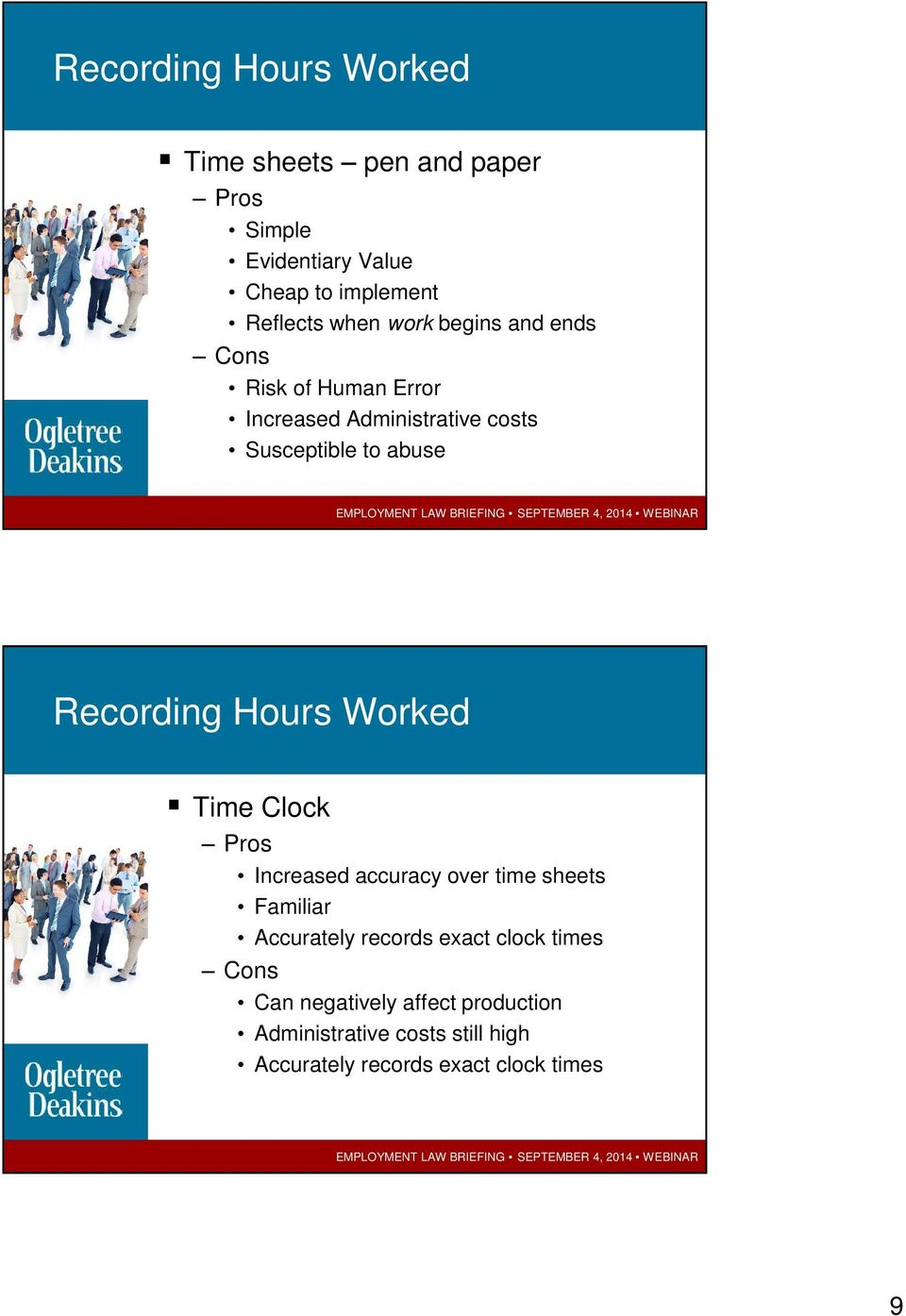 Recording Hours Worked Time Clock Pros Increased accuracy over time sheets Familiar Accurately records exact