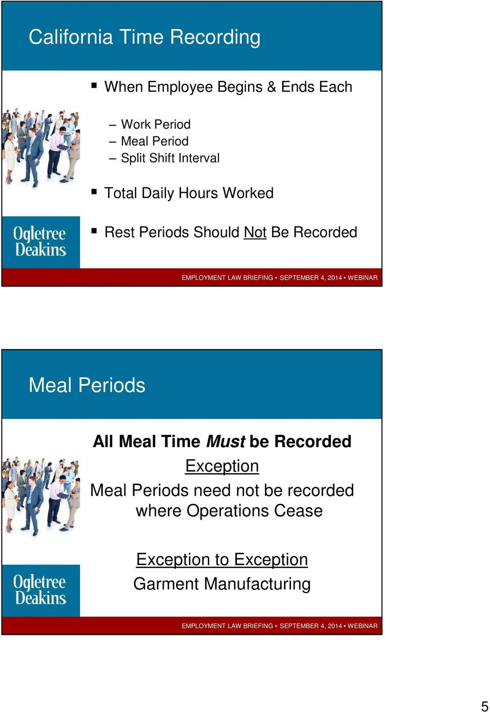 Recorded Meal Periods All Meal Time Must be Recorded Exception Meal Periods need
