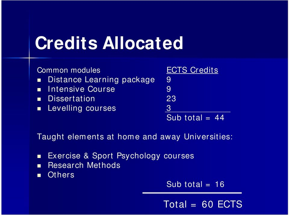 total = 44 Taught elements at home and away Universities: Exercise &