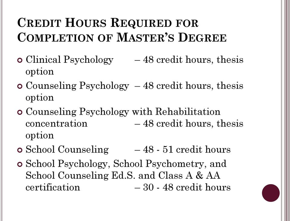 Rehabilitation concentration 48 credit hours, thesis option School Counseling 48-51 credit hours