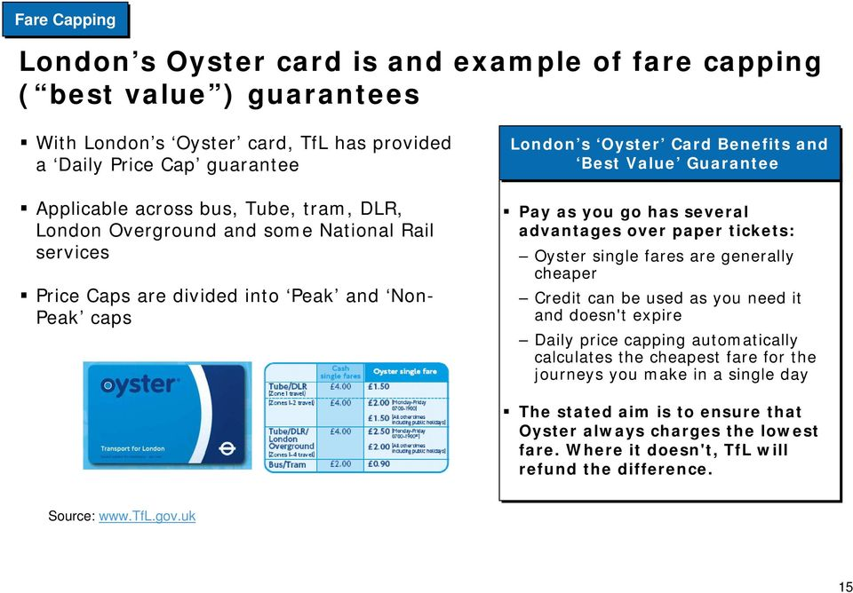 has several advantages over paper tickets: Oyster single fares are generally cheaper Credit can be used as you need it and doesn't expire Daily price capping automatically calculates the