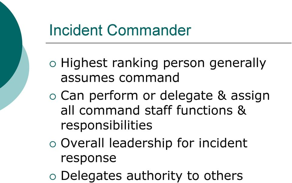 command staff functions & responsibilities Overall
