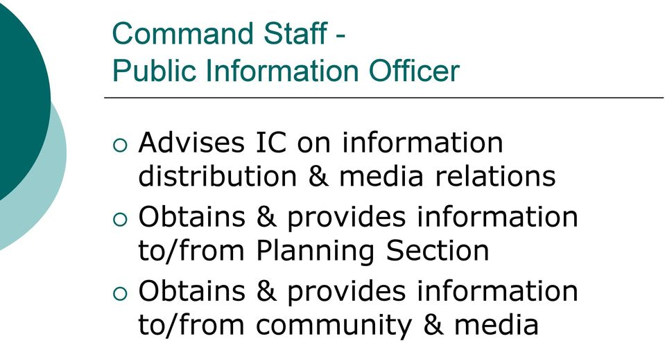 Obtains & provides information to/from Planning