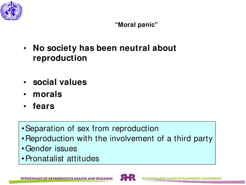 of sex from reproduction Reproduction with the