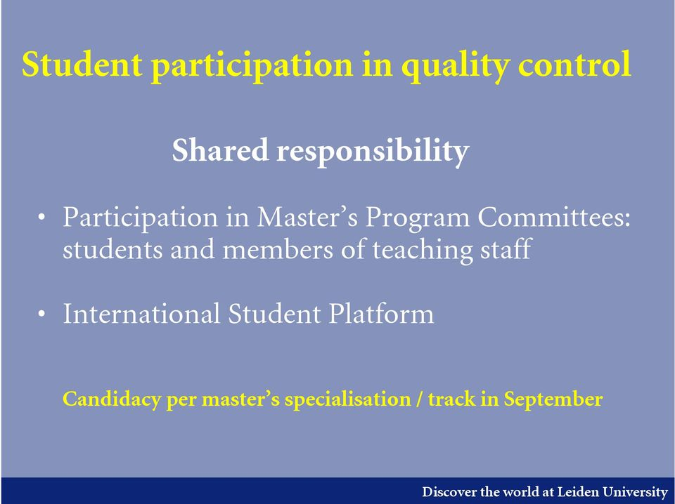 Committees: students and members of teaching staff
