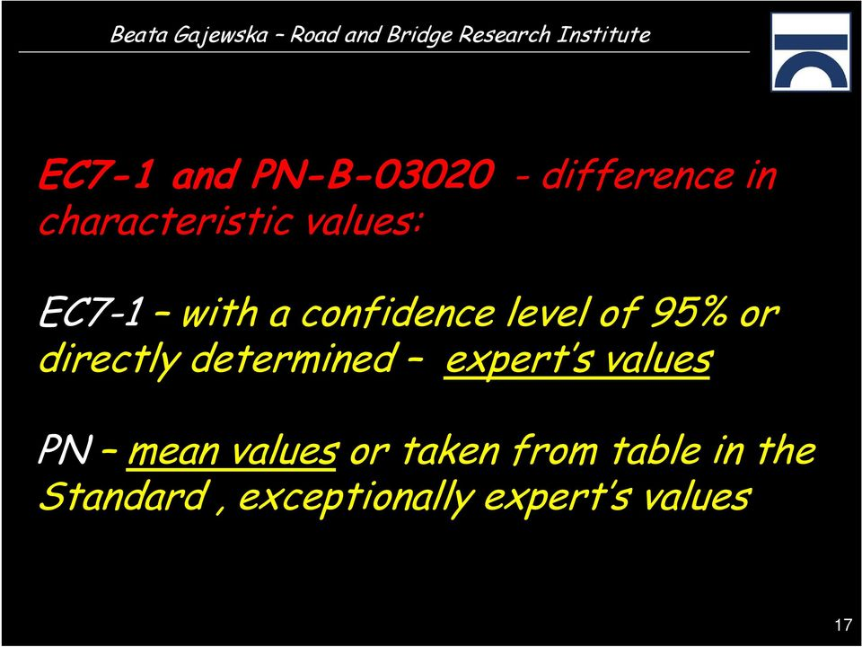 directly determined expert s values PN mean values or