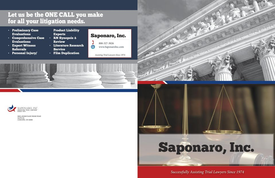 RN Synopsis & Review Literature Research Service Film Duplication Saponaro, Inc. 800-327-3026 www.saponaroinc.