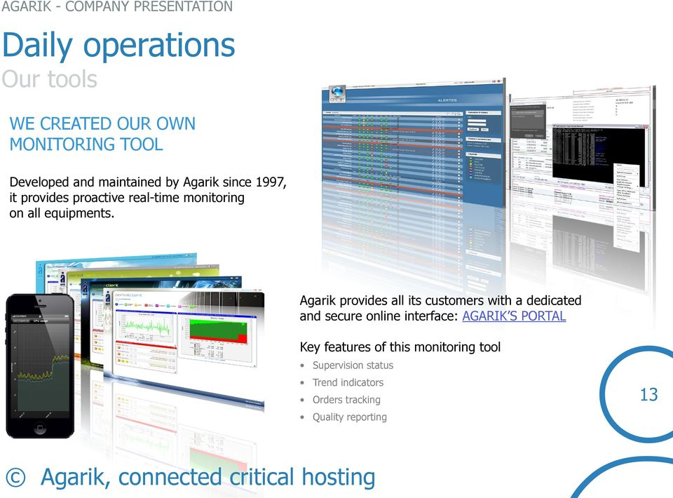 Agarik provides all its customers with a dedicated and secure online interface: AGARIK S