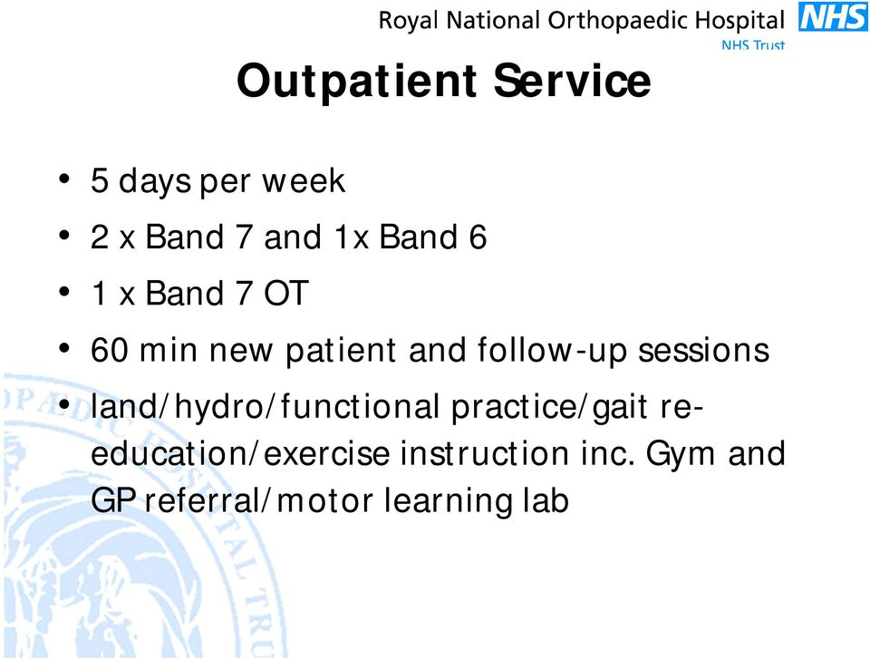 sessions land/hydro/functional practice/gait