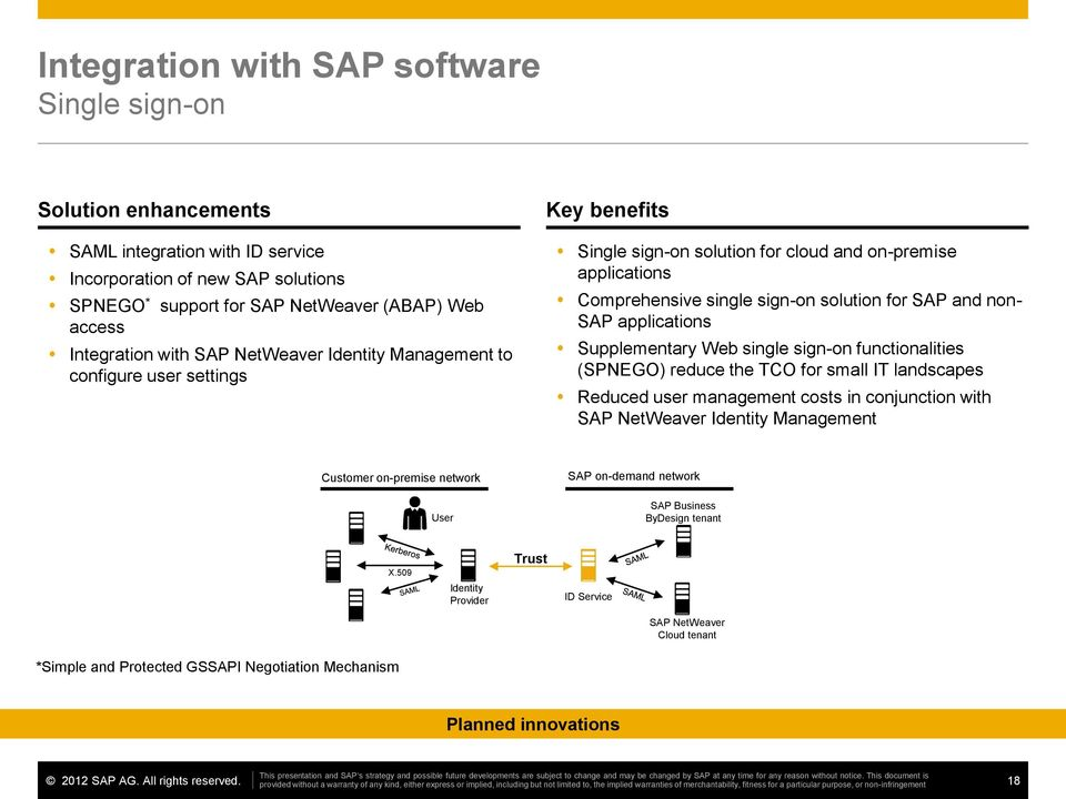 applications Supplementary Web single sign-on functionalities (SPNEGO) reduce the TCO for small IT landscapes Reduced user management costs in conjunction with SAP NetWeaver Identity Management