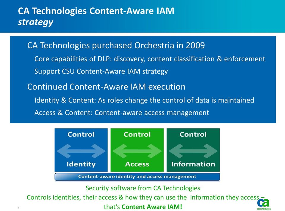 Content: As roles change the control of data is maintained Access & Content: Content-aware access management 2 Security