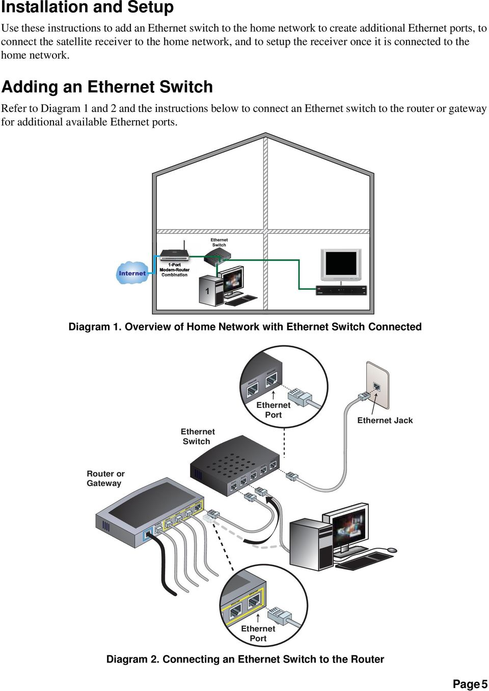 Adding an Switch Refer to Diagram 1 and 2 and the instructions below to connect an switch to the router or gateway for additional