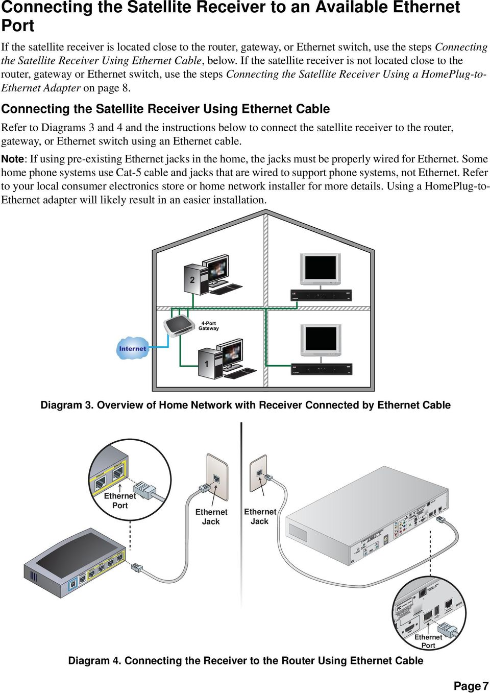 Connecting the Satellite Receiver Using Cable Refer to Diagrams 3 and 4 and the instructions below to connect the satellite receiver to the router, gateway, or switch using an cable.
