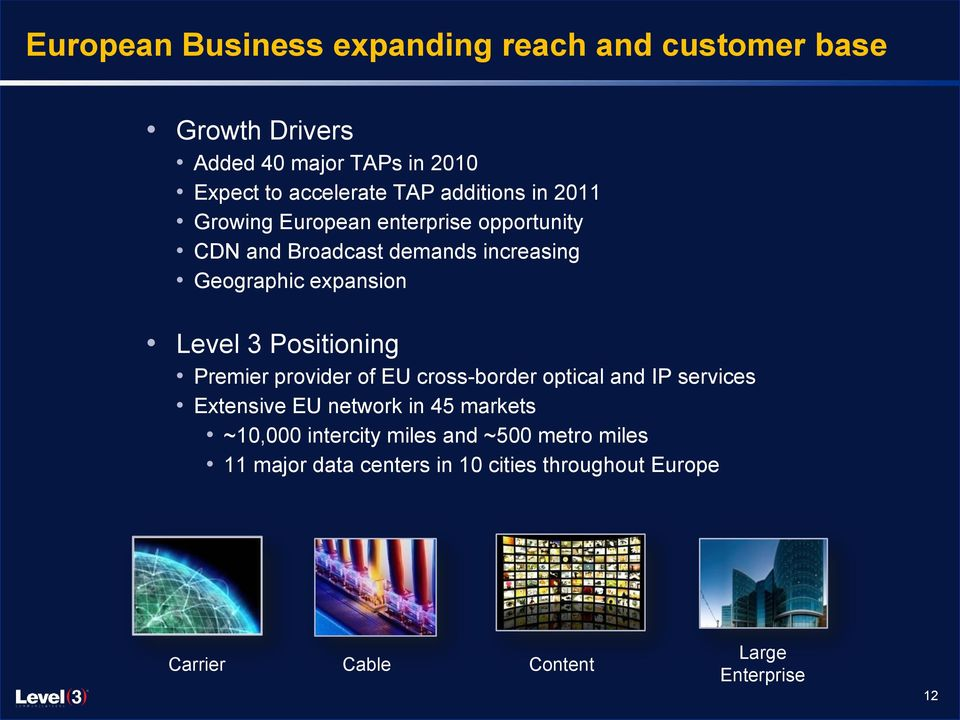 3 Positioning Premier provider of EU cross-border optical and IP services Extensive EU network in 45 markets ~10,000
