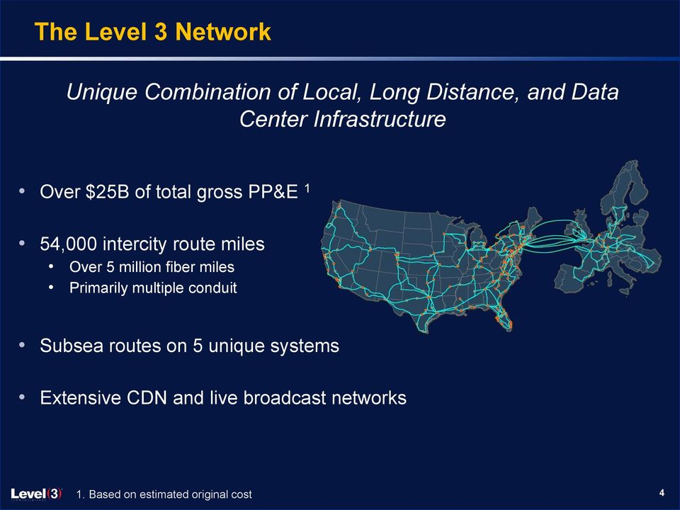 5 million fiber miles Primarily multiple conduit Subsea routes on 5 unique
