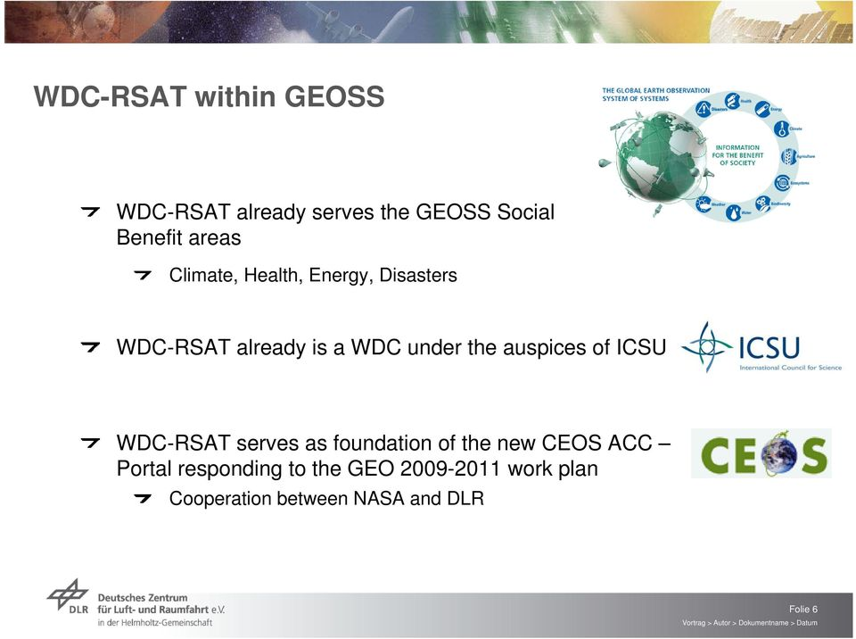 the auspices of ICSU WDC-RSAT serves as foundation of the new CEOS ACC