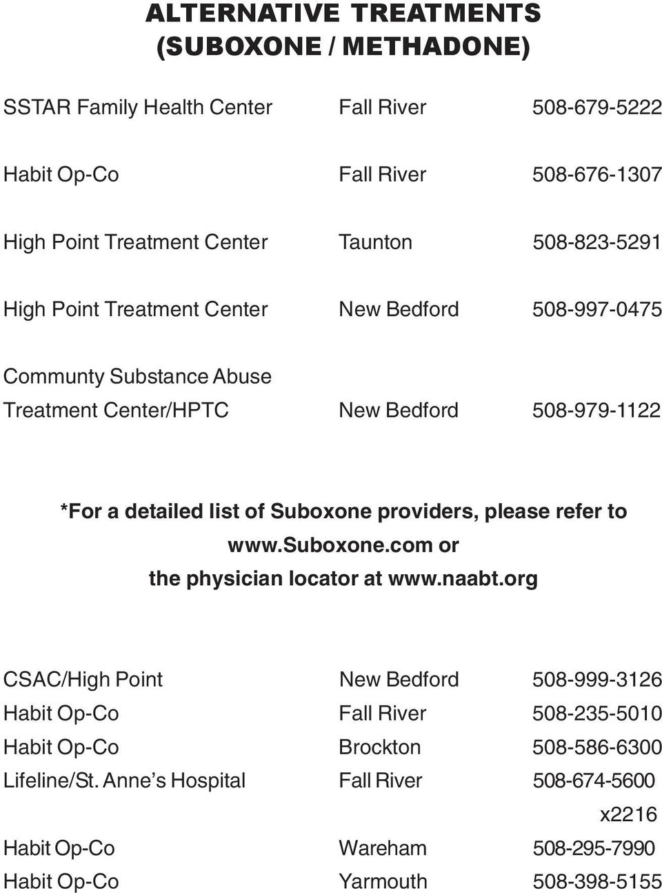 list of Suboxone providers, please refer to www.suboxone.com or the physician locator at www.naabt.