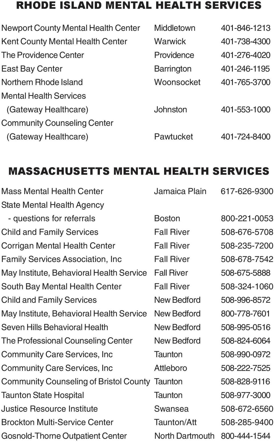 Healthcare) Pawtucket 401-724-8400 MASSACHUSETTS MENTAL HEALTH SERVICES Mass Mental Health Center Jamaica Plain 617-626-9300 State Mental Health Agency - questions for referrals Boston 800-221-0053